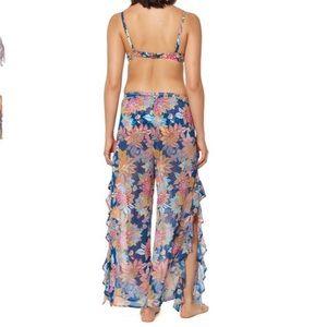 Bleu Rod Beattie Swim - Bleu Rod Beattie Print Ruffle Slit Sheer Pants